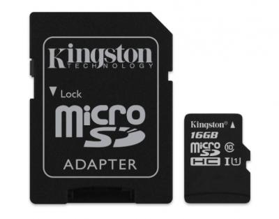 KINGSTON 16GB microSDHC class10 s adaptérom